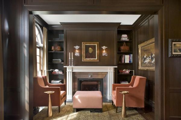 style-art-déco-murs-marrons-et-fauteuils-roses