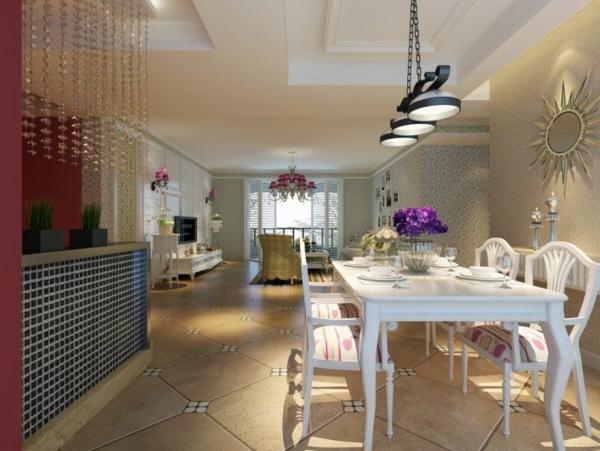 style-art-déco-salle-à-manger-art-déco-table-et-chaises-blanches