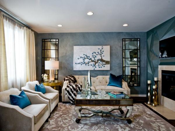 style-art-déco-salle-de-séjour-en-bleu-et-beige