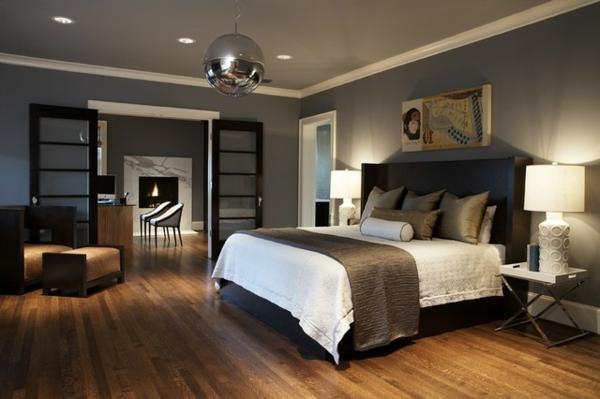 suspension-boule-argentée-chambre-à-coucher-contemporaine