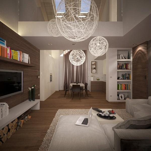 suspension-boule-salle-de-séjour-cosy-en-couleur-taupe-globes-pendants