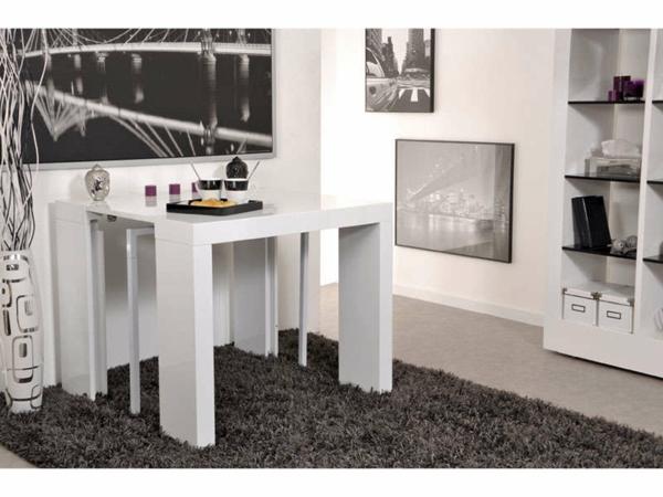 table-blanche-avec-deux-pied-centraux-escamotable-en-tube-d'acier