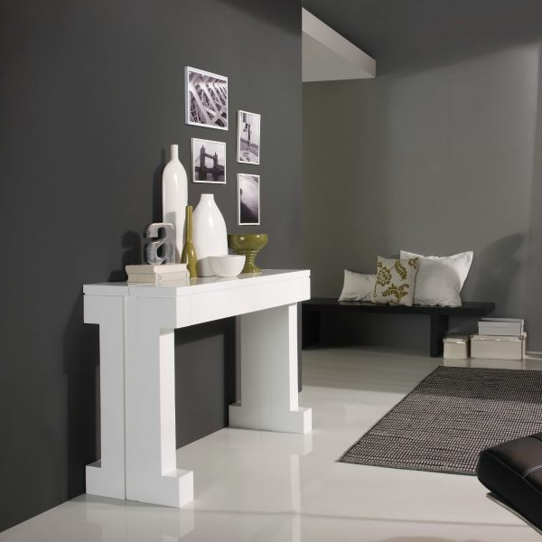 Table console extensible blanc laque design - Console laque blanc design ...