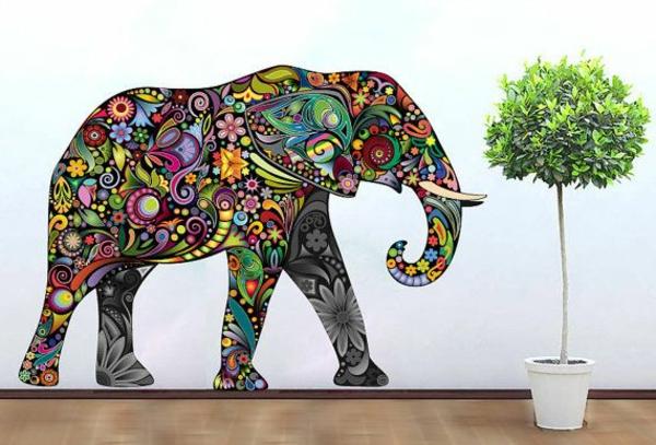 éléphante-en-couleurs-sur-le-mur-sticker-arbre-vert