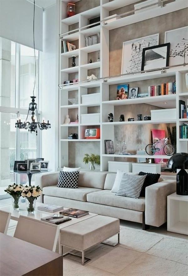 étagère-mural-en-bois-blanc-table-salle-de-séjour