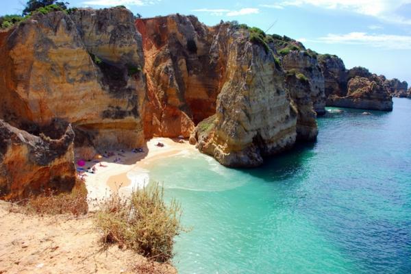 Cliffs at the Dona Ana beach, Algarve coast in Portugal