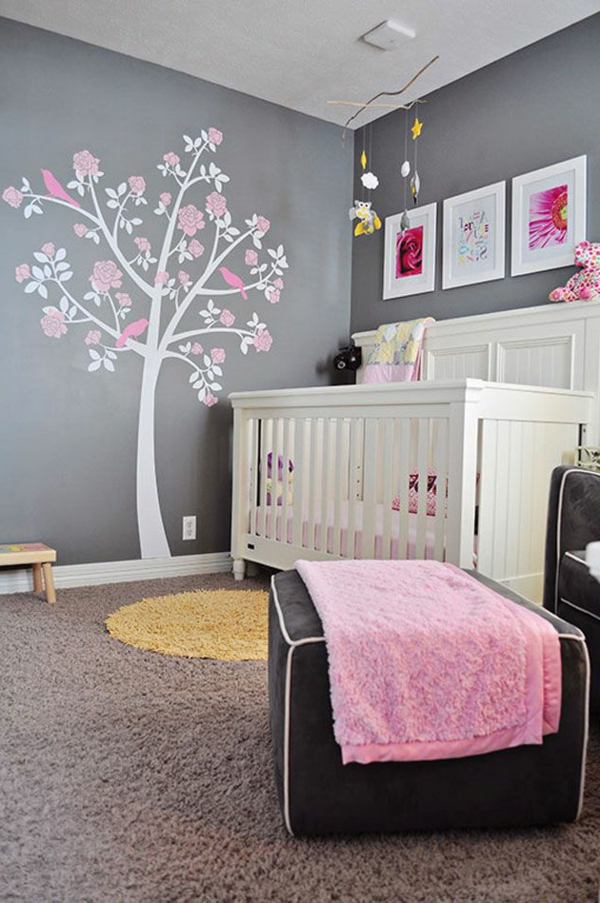 Stickers arbre blanc et rose images for Chambre rose pour fille