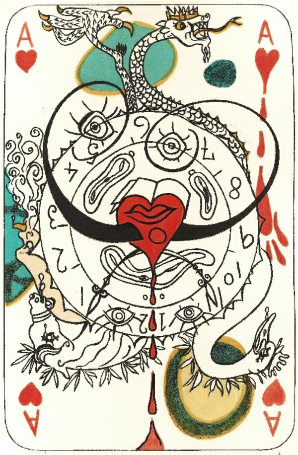 tableau-Dali-peinture-collection-privée-original-jouer-aux-cartes