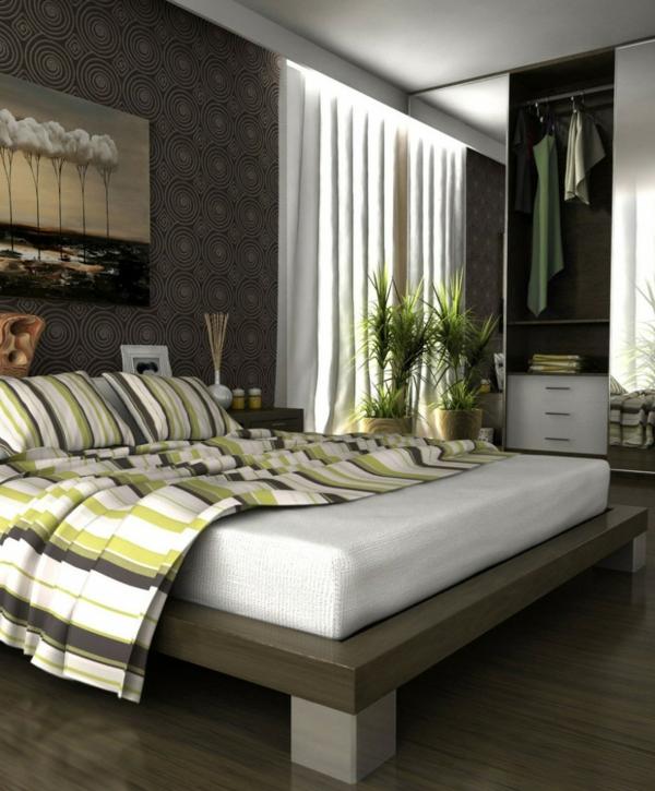Fantastique-Superbe-idées-décoration-chambre-à-coucher-lit-plante-verte