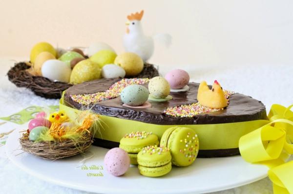 Gâteau au chocolat pour Pâques-macarons