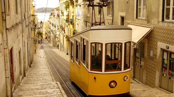 Lisbonne-carte-de-la-rue-ancienne-avec-le-tram-emblematique