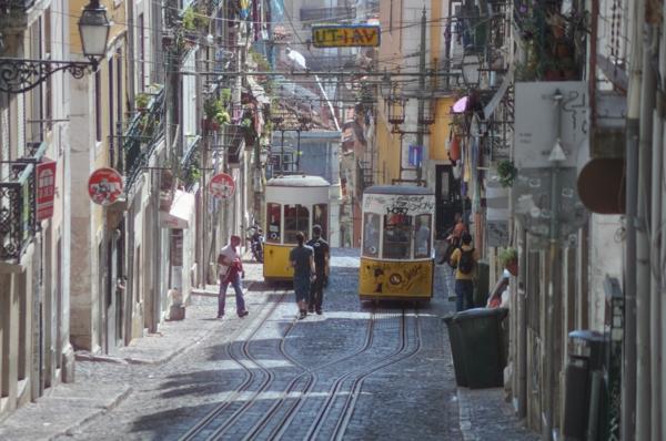 Lisbonne-rue-avec-train-jaune-historique