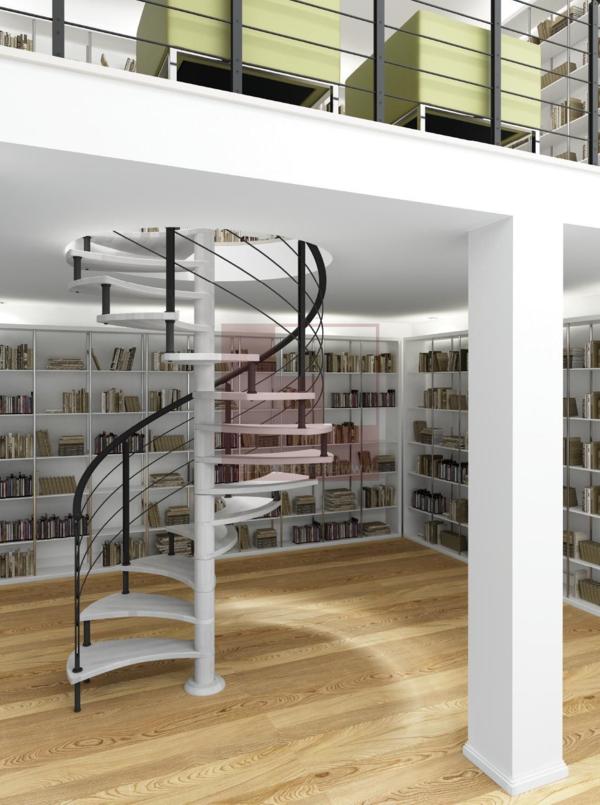 Spirale-couloir-bibliothèque-livre-blanc-noir