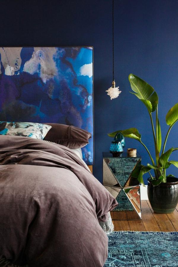 fabriquer-une-tête-de-lit-ambiance-favuleux-bleu-brune-plant-fleur-couvre-lit-tête-de-lit