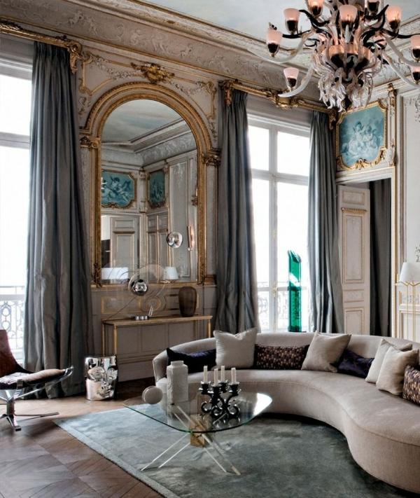ambiance-intérieur-contemporain-lustre-baroque-séjour-baroque-sofa