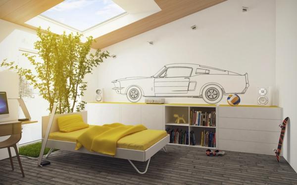 fabriquer-une-tête-de-lit-ambiance-jolie-créative-pièce-adolescent-garçon-lit-voiture-sur-le-mur-sticker