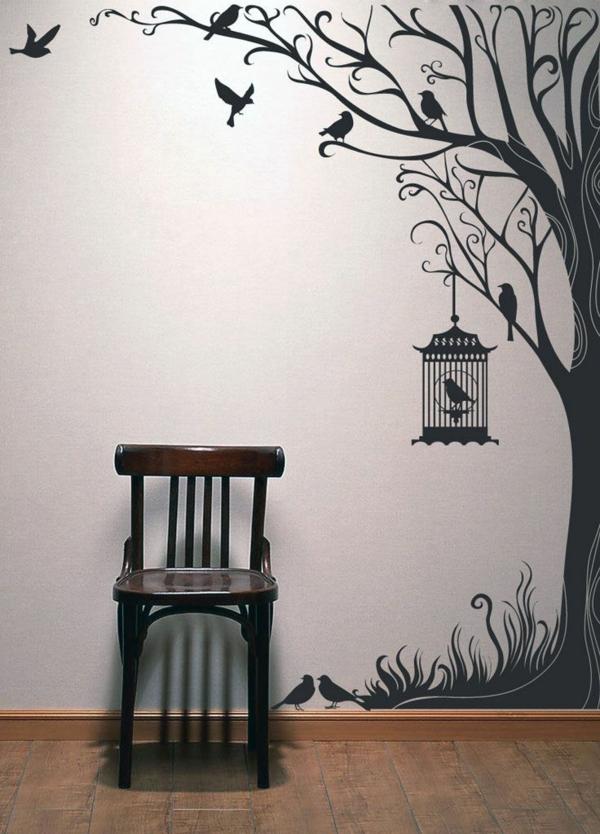 stickers-chambre-adulte-ambiance-poétique-décoration-murale-chaise-noir-sticker-arbre-noir-cage-oiseau