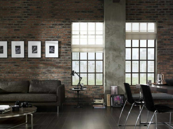 ambiance-stile-new-york-salle-de-séjour-sofa-peintures-sur-les-murs-en-pierre