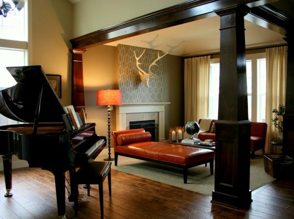 banquette-lit-en-bois-et-cuir-grand-piano-et-foyer-mural