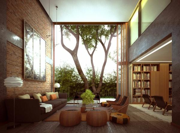 bibliothèque-dans-le-salon-salle-de-séjour-luxe-jolie-confortable-arbre-plantes