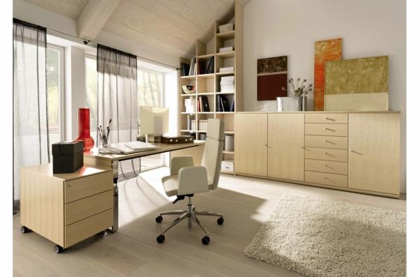 bureau-moderne-équipement-joli-en-bois-clair