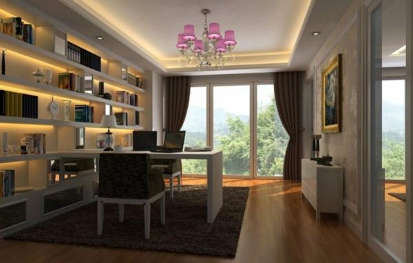 bureau-moderne-étagère-murale-moderne-plafonnier-baroque-en-rose