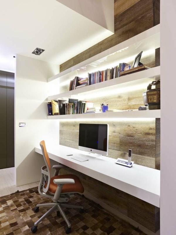 bureau-moderne-unique-étagère-illuminée-flottante