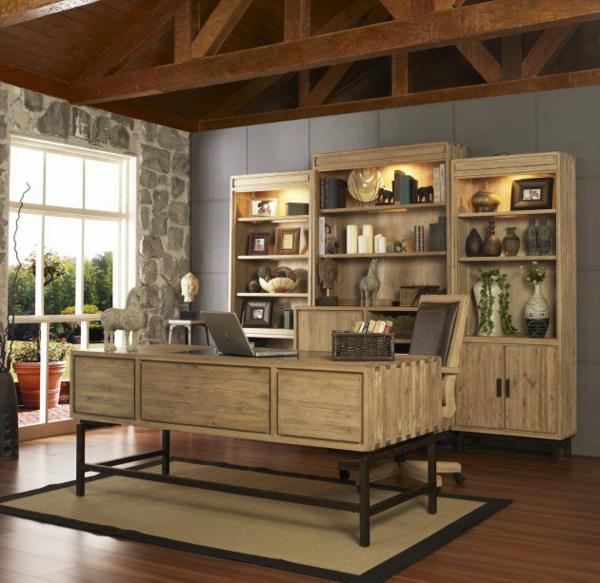 bureau-moderne-design-bureau-et-étagère-en-bois