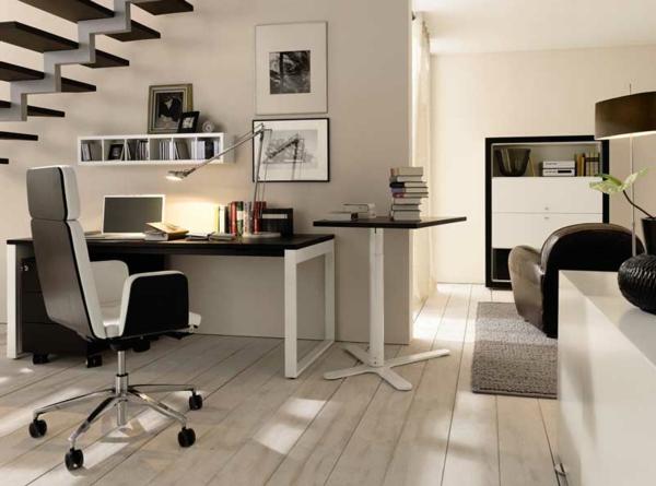 bureau-moderne-espace-en-noir-et-blanc-escalier-flottant-petite-étagère-flottante