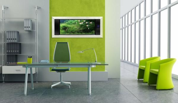 bureau-moderne-peinture-murale-verte-intérieur-minimaliste