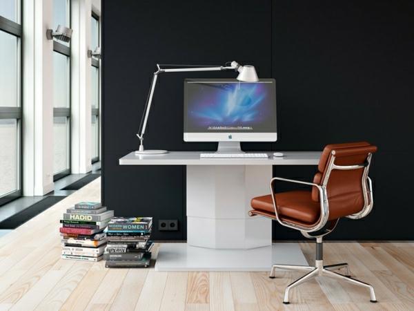 bureau-moderne-petit-bureau-blanc-et-une-chaise-en-cuir-marron