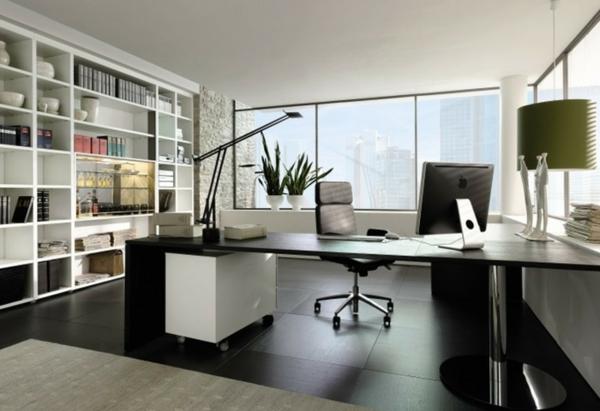 bureau-moderne-stylé-grande-étagère-murale-blanche-et-bureau-noir
