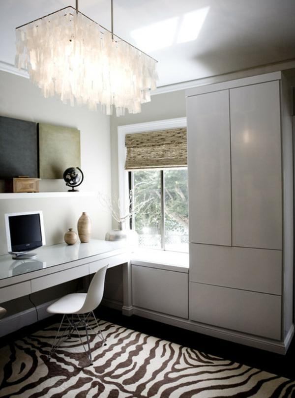 bureau-moderne-tapis-zèbre-intérieur-minimaliste-et-plafonnier-remarquable