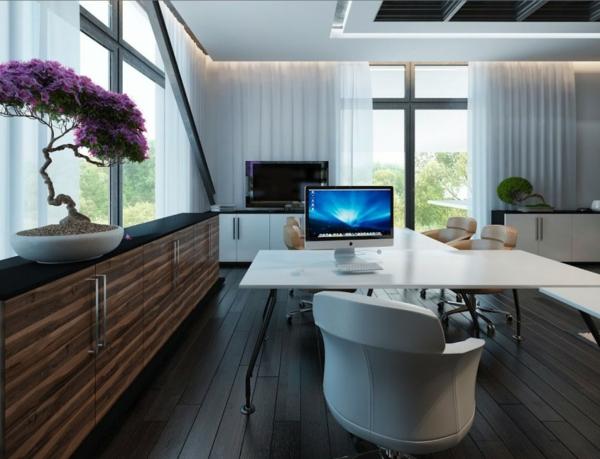 bureau-moderne-un-grand-buffet-console-un-bureau-blanc-et-bonzai-lilas-unique