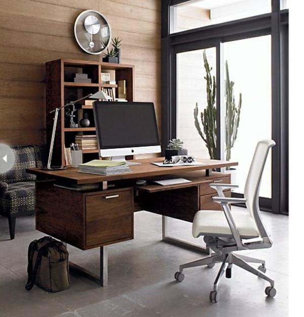 bureau-moderne-un-mur-en-bois-chaise-blanche-pivotante