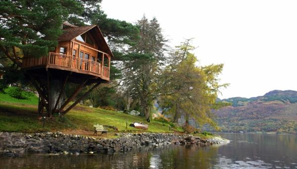 cabanes-dans-les-arbres-maison-dans-les-arbre-près-d'une-rivière