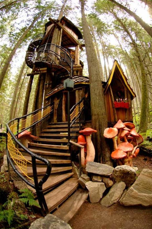cabanes-dans-les-arbres-une-cabane-bâtie-en-haut-dans-la-forêt