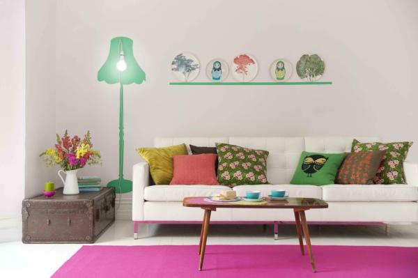 décorer sa chambre canapé-coussins-décoré-tapis-rose-hibou