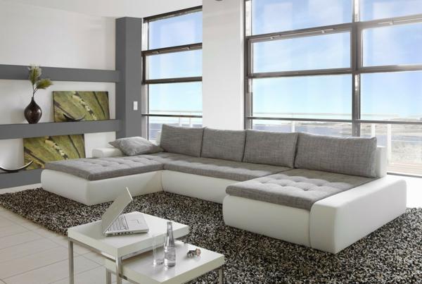 canapé-d-angle-blanc-gris-tapis-gris