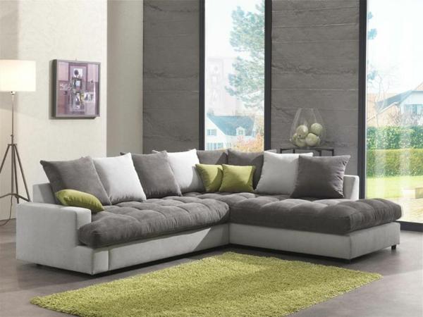 canapé-d-angle-gris-vert