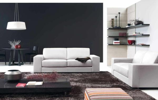 canapé-natuzzi-étagère-murale-flottante-et-un-mur-noir