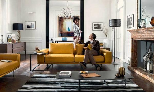 canapé-natuzzi-design-en-textile-jaune