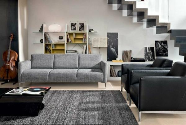 canapé-natuzzi-en-textile-gris