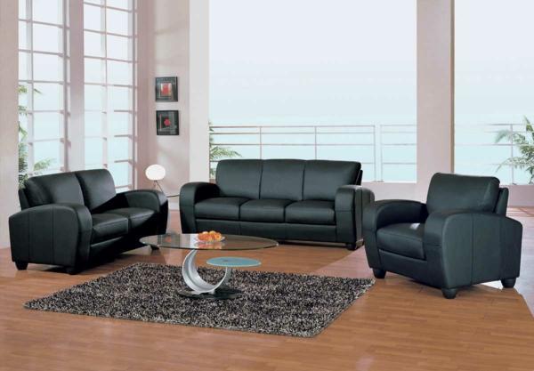 canapé-natuzzi-intérieur-moderne-canapés-noirs-tapis-gris