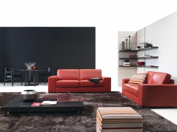 canapé-natuzzi-rouge-table-basse-noire