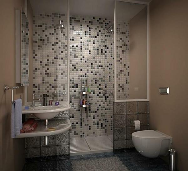 le carrelage mosaique pour la déco de la salle de bains - archzine.fr - Mosaique Noire Salle De Bain