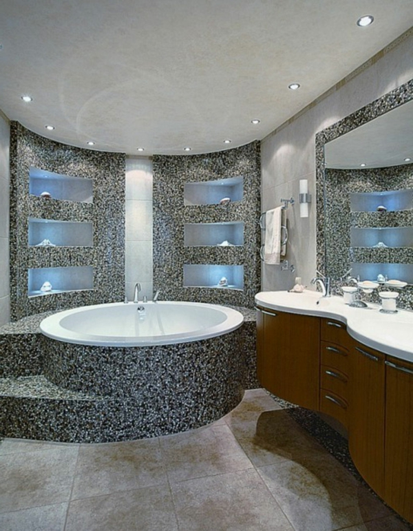 Le carrelage mosaique pour la d co de la salle de bains for Salle de bain baignoire ronde