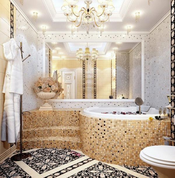 carrelage mosaique beoige salle de bains luxueuse