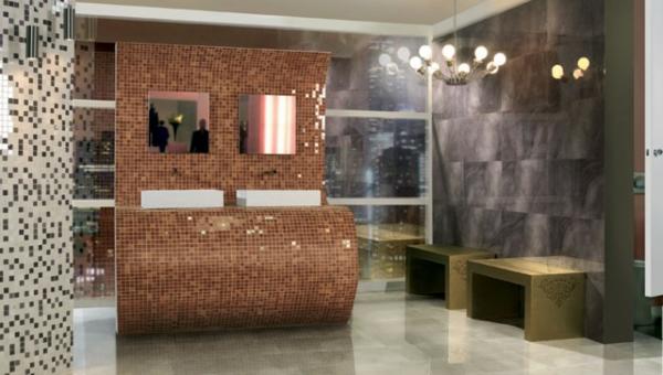 Le carrelage mosaique pour la d co de la salle de bains - Salon couleur bronze ...