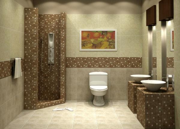 carrelage-mosaique-décorationbeige-de-salle-de-bains